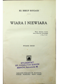 Wiara i niewiara 1930 r