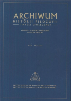 Archiwum historii filozofii i myśli społecznej Vol 58