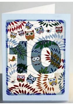 Karnet PM810 wycinany + koperta Urodziny 10 sowy