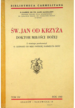 Św Jan od krzyża Doktor Miłości Bożej 1940 r.