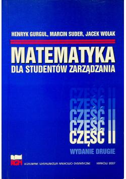 Matematyka dla studentów zarządzania cz II