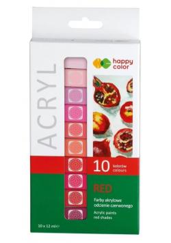 Farby akrylowe 12ml 10 kol czerwony HAPPY COLOR