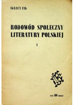 Rodowód społeczny literatury polskiej tom 1 1938 r.