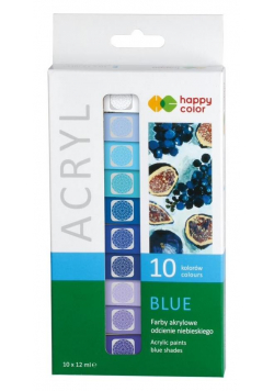 Farby akrylowe 12ml 10 kol niebieski HAPPY COLOR