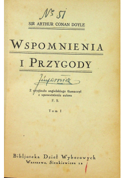 Wspomnienia i przygody Tom I 1925 r.