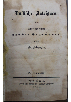 Russilche Intrigue 1845 r.