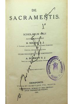 Summa Theologiae Moralis De Sacramentis 1925 r.