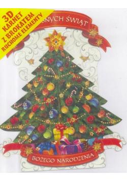 Karnet składany 3D Boże Narodzenie - Choinka