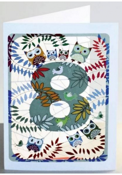 Karnet PM798 wycinany + koperta Urodziny 8 sowy