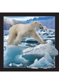 Pocztówka 3D Niedźwiedź polarny w skoku