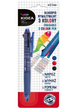 Długopis wymazywalny trzykolorowy KIDEA