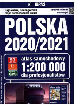 Polska 2020/2021 Atlas samochodowy dla profesjonal
