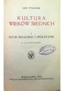 Kultura wieków średnich 1925 r.