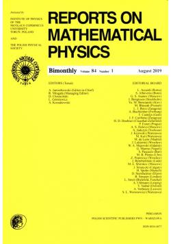 Reports on Mathematical Physics 84/1 Pergamon