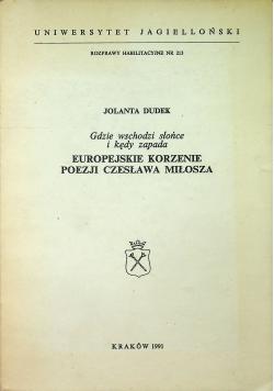 Europejski korzenie poezji Czesława Miłosza