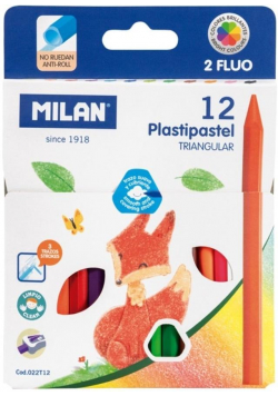 Kredki świecowe Pastipastel trójkątne 12 kol MILAN