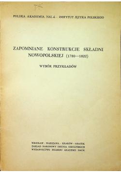 Zapomniane konstrukcje składni nowopolskiej  1780 1822