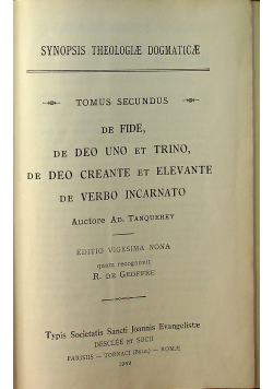Synopsis theologiae dogmaticae ad usum seminarioru, tomus II