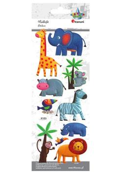 Naklejki wypukłe miękkie zwierzęta safari 10szt