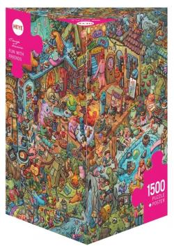 Puzzle 1500 Zabawa z przyjaciółmi + plakat