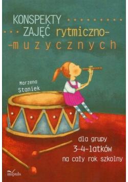 Konspekty zajęć rytmiczno muzycznych dla grupy 3 - 4 latków na cały rok szkolny Część I