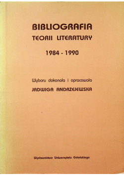 Bibliografia teorii literatury 1984 1990