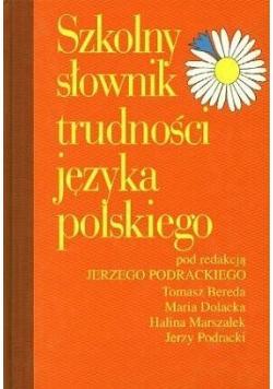 Szkolny słownik trudności języka polskiego plus autograf Podracki