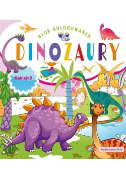 Blok kolorowanek. Dinozaury + naklejki