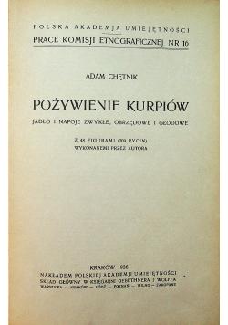 Pożywienie kurpiów 1936 r.