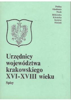 Urzędnicy województwa krakowskiego XVI XVIII wieku
