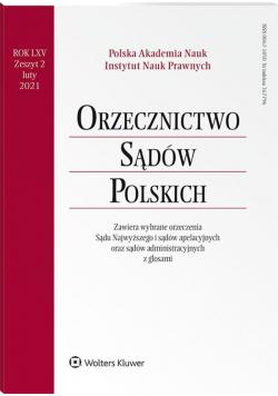 Orzecznictwo Sądów Polskich 2/2021