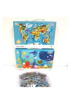 Puzzle Mapa zwierząt + Zwierzęta morskie