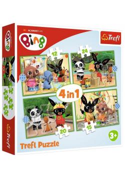Puzzle 4w1 Wesoły dzień Binga TREFL