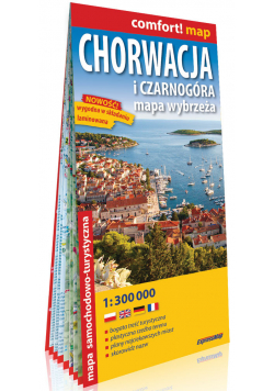 Chorwacja i Czarnogóra. Mapa wybrzeża; laminowana mapa samochodowo-turystyczna 1:300 000