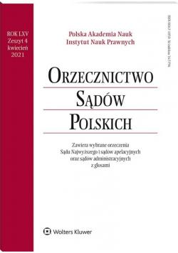 Orzecznictwo Sądów Polskich 4/2021