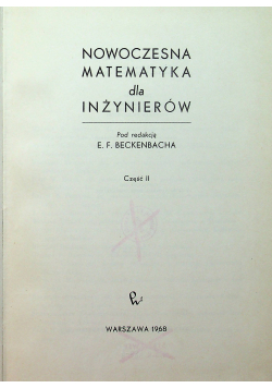 Nowoczesna matematyka dla inżynierów Część II