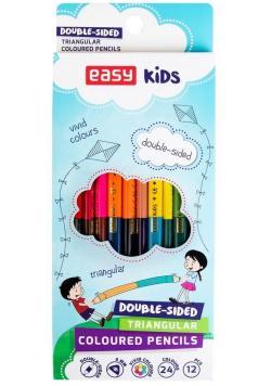 Kredki dwustronne 24 kolory EASY