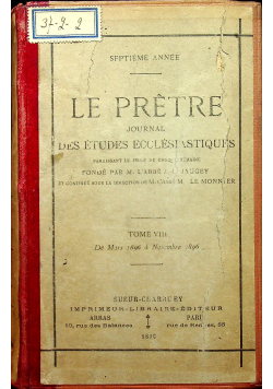 Le Pretre Tome VIII 35 numerów 1896 r