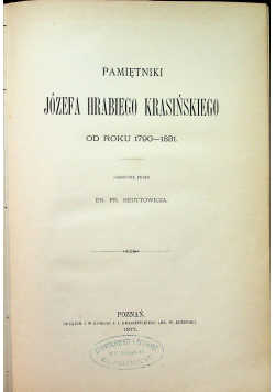 Pamiętniki Józefa Hrabiego Krasińskiego 1877 r.