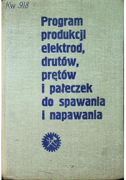 Program produkcji elektrod drutów prętów i pałeczek do spawania i napawania