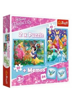Puzzle 2w1+ memos - Niezwykły Świat Księżniczek