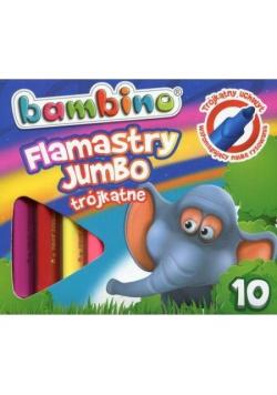 Flamastry trójkątne Jumbo 10 kolorów BAMBINO