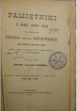 Pamiętniki z roku 1830 1831 ś p generała Ignacego habdank Kruszewskiego, 1890 r