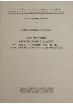 Rzeczowniki zapożyczone z łaciny w języku polskim XVII wieku + autograf Rybicka