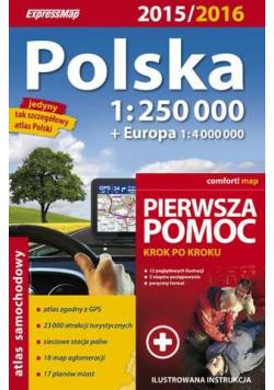 Polska atlas sam 1:250 000 + pierwsza pomoc