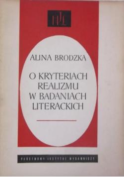 O kryteriach realizmu w badaniach literackich