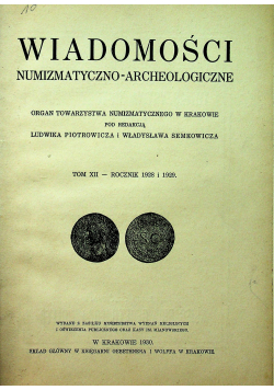 Wiadomości numizmatyczno archeologiczne 1930 r.