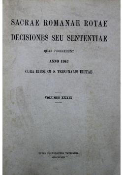 Sacrae Romanae Rotae Decisiones Seu Sententiae Tom XXXIX 1947 r.