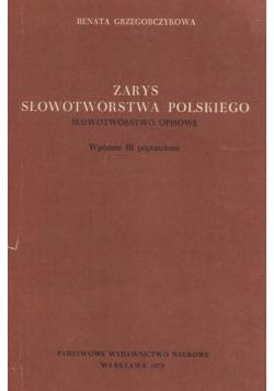 Zarys słowotwórstwa polskiego Słowotwórstwo opisowe
