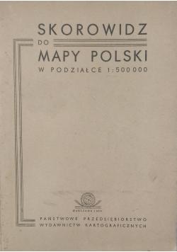 Skorowidz do mapy Polski w podziałce 1 500 000